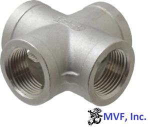 "1-1/2"" 150 Threaded (Female NPT) Cross 304 Stainless Steel, 4-Way <SS070841304"