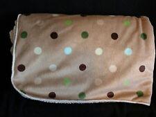 Cuddle Time Baby Blanket Tan Green Brown Polka Dot Sherpa Back