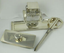 VINTAGE TIFFANY & CO 4 PIECE INKWELL DESK SET STERLING SILVER