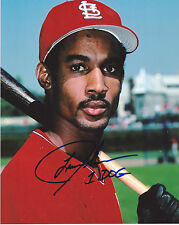 Lance Johnson St. Louis Cardinals Action Signed 8x10