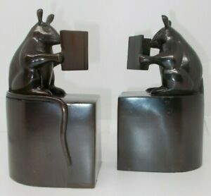 Vintage Pair of Bronze Brown Metal Mouse Mice Reading Books Bookends