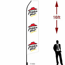 """16ft Outdoor Advertising Flag with Pole Set & Ground Stake. """"Pizza Hut"""""""