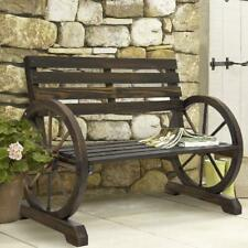 Rustic 2 Person Wooden Wagon Wheel Bench Outdoor Lounge With Slatted Seat Brown