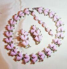 Vintage Demi Parure Lucite Pink Necklace/Earring Set