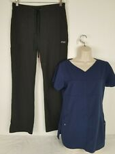 Greys Anatomy Signature 2 Piece Blue Scrub Top Shirt And Black Pant Size Small