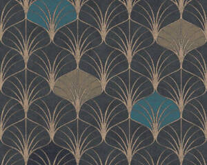 Popstyle Art Deco Style Wallpaper Chocolate/Teal/Gold
