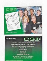 CSI Series 1  SS1 SIGNED SCRIPT COMPETITION CARD (EXPIRED) SS1  BY Strictly Ink