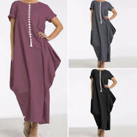 Womens Casual Shirt Dress Short Sleeve Holiday Long Dress Summer Sundress Loose