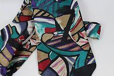Toothpix Mens Modern Art Abstract Print Tie Necktie Teal Purple Red Brown 56 X 4
