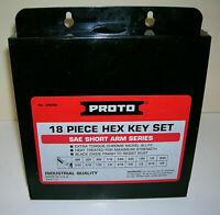 """Proto® 18 Piece Hex Key Set J4986 Metal Storage Box Included  .028"""" to 5/8"""" USA"""
