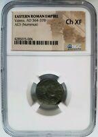 Valens Eastern Roman Empire BI AE3 Nummus NGC Ch XF Ancient Siscia Angel Coin
