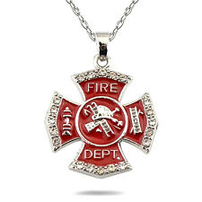Woman's Firefighter Necklace Maltese Cross Crystal Accent Charm Fireman