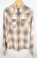 Hollister Men Casual Shirt SnapWhite Grey Check Cotton size XL