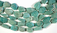 "LOVELY AMAZONITE FREEFORM FACETED NUGGET BEADS 16"" STR"