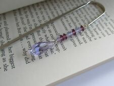 Bohemian Cut Crystal Glass Amethyst Purple Lilac Bead Handmade Bookmark Gift Box