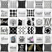"""Cushion COVER White Black Soft 2-Sided Home Decor Decorative Pillow Case 18x18"""""""