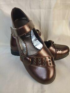 Mädchen Schuhe mit Riemen Klettverschluss - Größe 31 - Bronze (2-107)