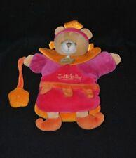 Peluche marionnette ours Indidous rose orange DOUDOU ET COMPAGNIE + fleur NEUF