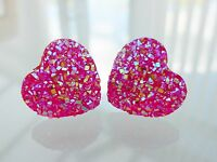 Small Sparkly Fucshia Hot Pink Ab Heart Crystal Diamante Diamond Stud Earrings