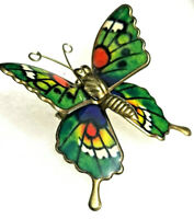 VINTAGE Butterfly 3D Pin Brooch Green Monarch Colorful Enamel Goldtone