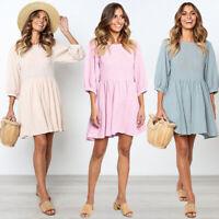 Elegant Solid Ladies 3/4 Lantern Sleeve Pleated Mini Dress A-Line Sundress