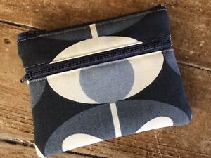 Handmade Coin Purse Credit Card 2 Compartment Orla Kiely Grey Oval Flower Fabric