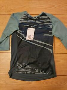 Pearl Izumi Womens Launch 3/4 sleeve Mtb CyclIng Jersey blue and grey size small