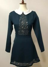 MODCLOTH English Factory Women's Teal Peter Pan Lace Long Sleeve Dress Small