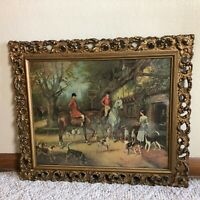 """Victorian Carved Wood 21"""" x 25"""" Picture Frame Antique w/Fox Hunt Print *READ*"""