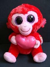 "Nwt Ty Beanie Boos 9"" Charming Monkey Valentine's Medium Plush Boo Buddy Red New"