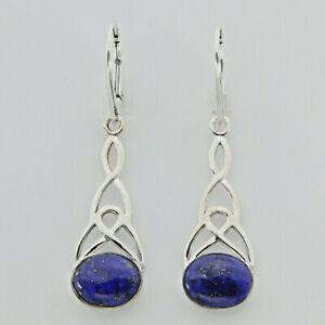 Natural Blue Oval LAPIS LAZULI Celtic Earrings 925 STERLING SILVER Leverback 37e