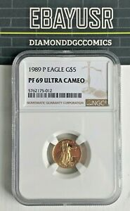 1989 P $5 1/10 oz Proof American Gold Eagle NGC Certified Coin