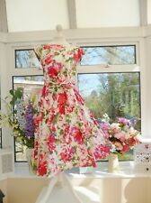 *LAURA ASHLEY* PINK FLORAL VINTAGE STYLE FIT & FLARE COTTON SUMMER DRESS Sz 16