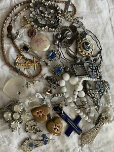 Collection Job Lot of Art Deco costume jewellery for spares repair