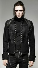 Black Braided Gothic Military Denim Jacket with Leather Shoulders