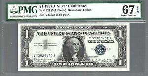 1957B Silver Certificates  $1 X 1 note 😱 PMG Grade 67 EPQ SUPERB GEM UNC!!!!!!!