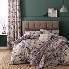 Plum And Mauve Floral Bedspread Throw Comforter Fits Double Bed Size 220 x 230cm