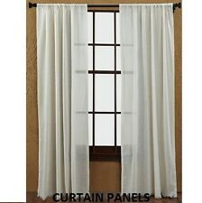 """TOBACCO CLOTH NATURAL CURTAIN PANEL 2 PC SET 84X40"""" UNLINED FRINGED"""
