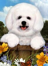 Outdoor Small Flag Bichon Friese Dog Summer Flowers Garden Flag