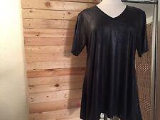 *MAGNA* Kunstleder-Shirt, Gr 56-58, Schwarz, 1/2 Arm, Lagenlook, A-Linie