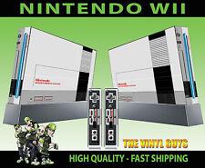 NINTENDO WII Pegatina Retro NES clásico estilo de consola de 8 bits de la piel y 2 Pad Skins