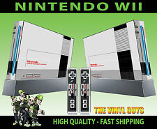Nintendo Wii Adesivo Retrò NES Classic console 8 Bit stile Skin e 2 SKIN Pad