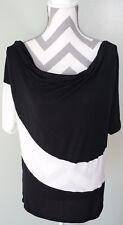 WHITE HOUSE BLACK MARKET Black White Soft Cowl Neck Top Shirt Blouse Sz L Large