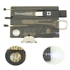 Handy Multifunctional Survival Camping Tool Card Knife LED Light Magnifier New