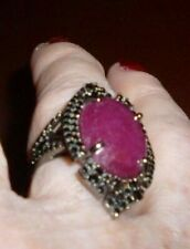 Rarities 13cwt Ruby & Black Spinel Black Rhodium over .925 Sterling Silver Sz 6