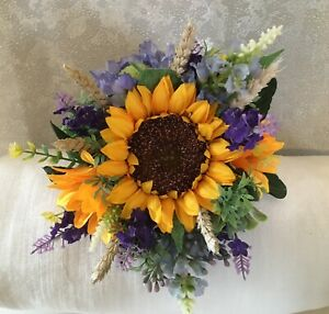 Rustic Artificial Bridesmaid Bouquet Sunflowers and Lavender  Wedding Flowers