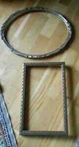 Antik Konvolut 2 Bilderrahmen Holz Jugendstil in Gold -Silber - Oval - Rechtecki