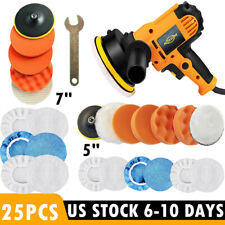 "5"" 7"" 110V Car Polisher Buffer Polishing Waxing Machine Buffing Sponge Pads Kit"