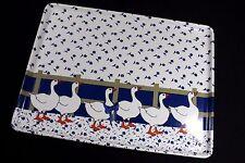 Keller Charles MELAMINE TRAY 14.5 x 11 Blue & White Floral DUCKS Made in ITALY