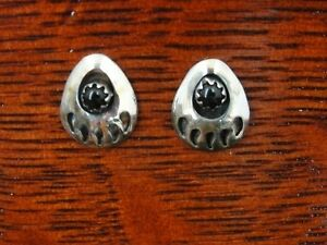 Bear Paw with Black Onyx Stone Petite Stud Sterling Silver 925 Pierced Earrings